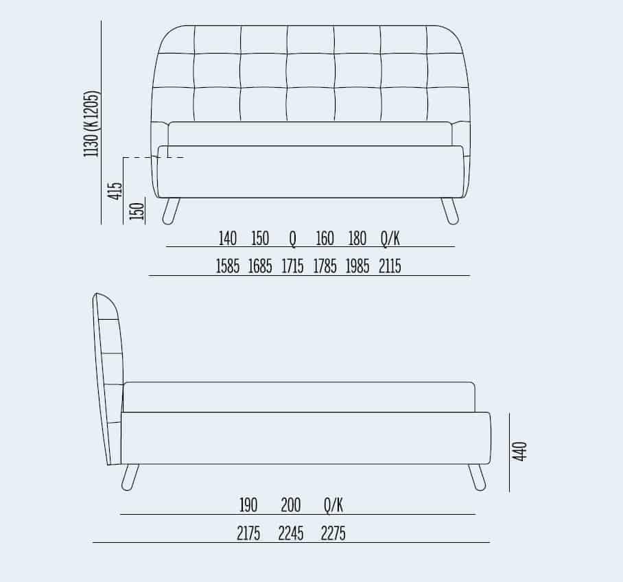 Κρεβάτι Larry Noctis - Διαστάσεις