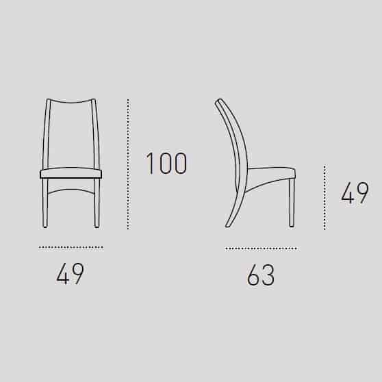 Καρέκλα Τραπεζαρίας Atene Target Point - Διαστάσεις