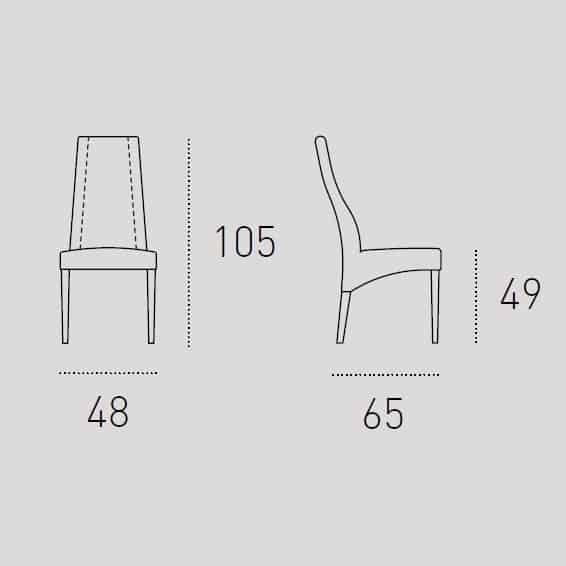 Καρέκλα Τραπεζαρίας Ginevra Target Point - Διαστάσεις