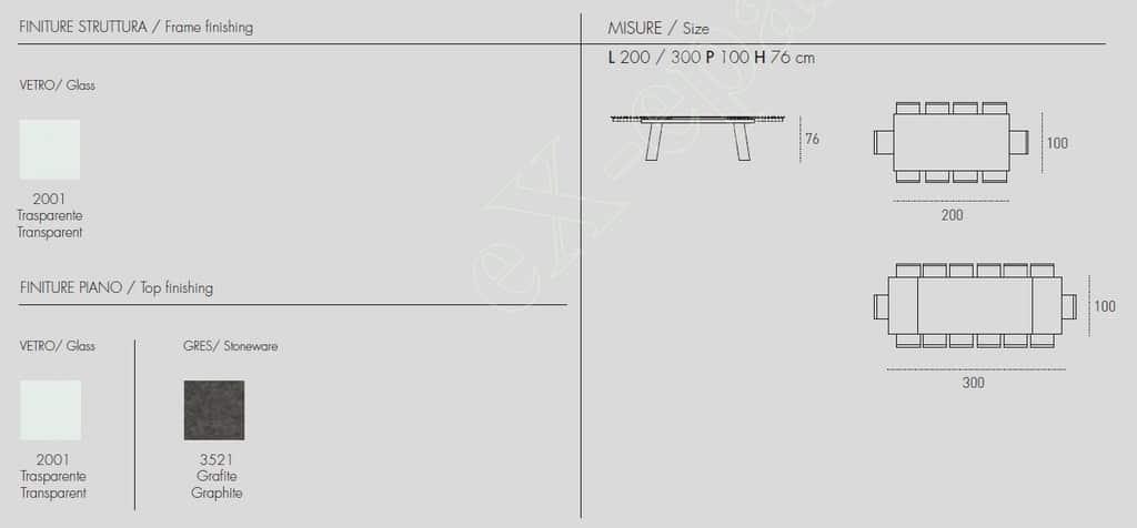 Τραπέζι Crystal Plus Target Point - Χρώματα & Διαστάσεις