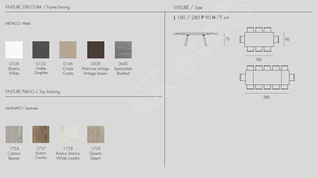 Τραπέζι Grecale Target Point - Χρώματα & Διαστάσεις