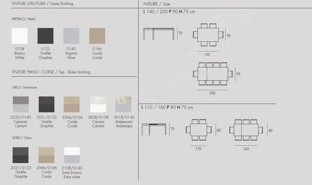 Τραπέζι Κουζίνας Auriga Target Point - Χρώματα & Διαστάσεις