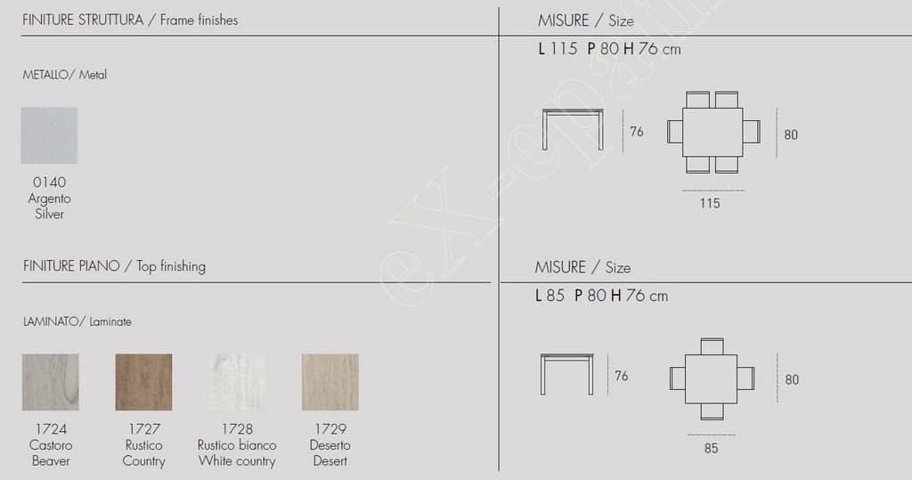 Τραπέζι Κουζίνας Tucano Target Point - Χρώματα & Διαστάσεις