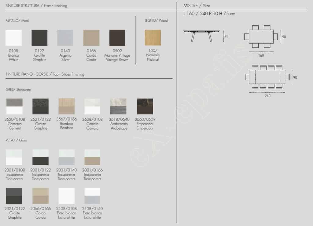 Τραπέζι Marte 160cm - Χρώματα & Διαστάσεις