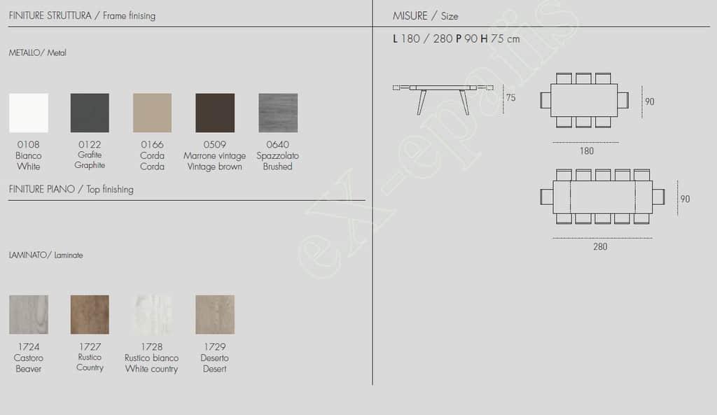 Τραπέζι Scirocco Target Point - Χρώματα & Διαστάσεις